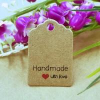 "Etichete carton ""Handmade with love"" 60buc"