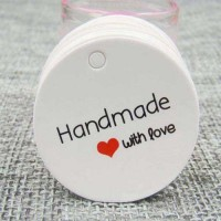 "Etichete rotunde ""Handmade with love"" 50 buc"