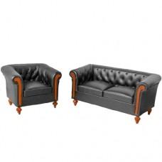 Set canapea cu fotoliu piele neagra scara 1:12 Chesterfield