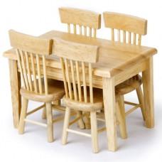 Set masa cu 4 scaune scara 1:12 din lemn