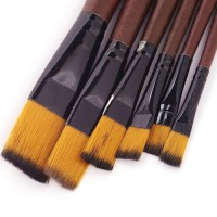 Set 6 pensule cu varf plat, marimi 2-4-6-8-10-12