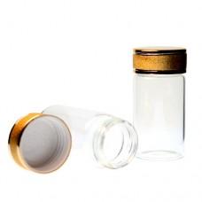 Recipient elegant din sticla cu capac auriu