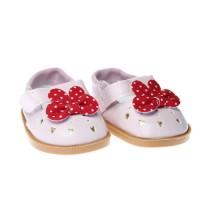 Pantofi 7.5cm pe ROZ cu fundita rosie cu buline