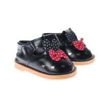 Pantofi 7.5cm pe Negru cu fundita rosie