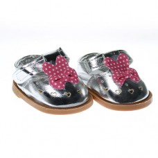 Pantofi 7.5cm pe Argintiu cu fundita cu buline