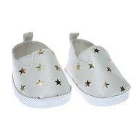 Pantofi 7.5cm Albi cu stelute aurii