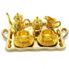 Set ceainic  cu tava din metal