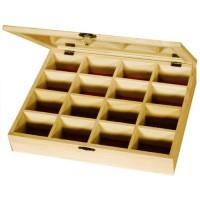 Cutie din lemn pentru margele 16 compartimente capac sticla