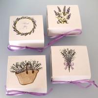 Set 4 cutii carton/textil 6x7cm