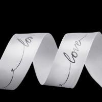 Panglică satinată Love 26mm pe ALB cu Argintiu 1m