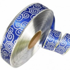 Panglica Lux Albastru Argintiu 3.8cm latime 1m
