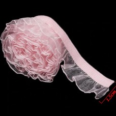 Dantela cu elastic pentru haine de papusi 1.5cm ROZ