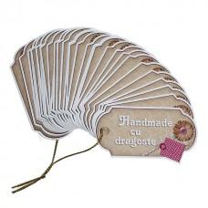 """Etichete vintage """"Handmade cu dragoste"""" 30 buc"""