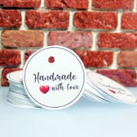 "Etichete albe ""Handmade with love"" 52buc"