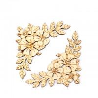 Colt flori din lemn 9cm 4buc