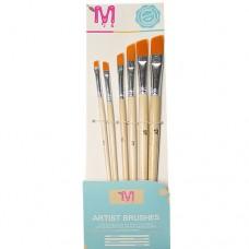 Set 6 pensule cu varf oblic nr.2-12
