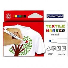 Set 6 markere pentru textile Centropen, varf 1.8 mm